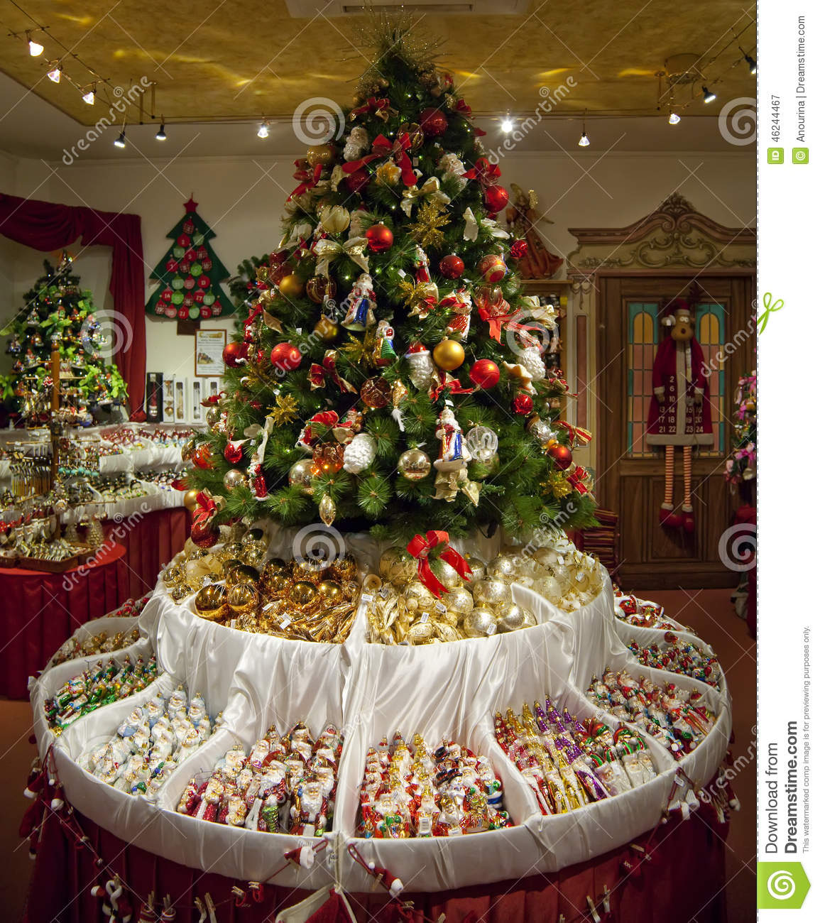 Shop With Christmas Decorations Stock Image