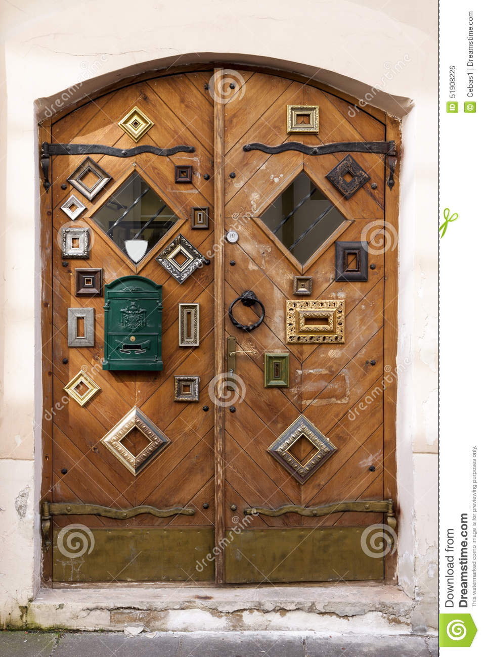 Shop doors decorated with picture frames