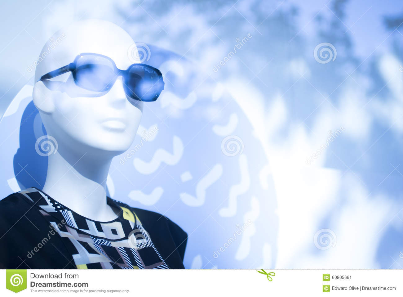 75436d9bab Shop dummy fashion mannequin in store boutique shop window wearing dark  sunglasses artistic photo.