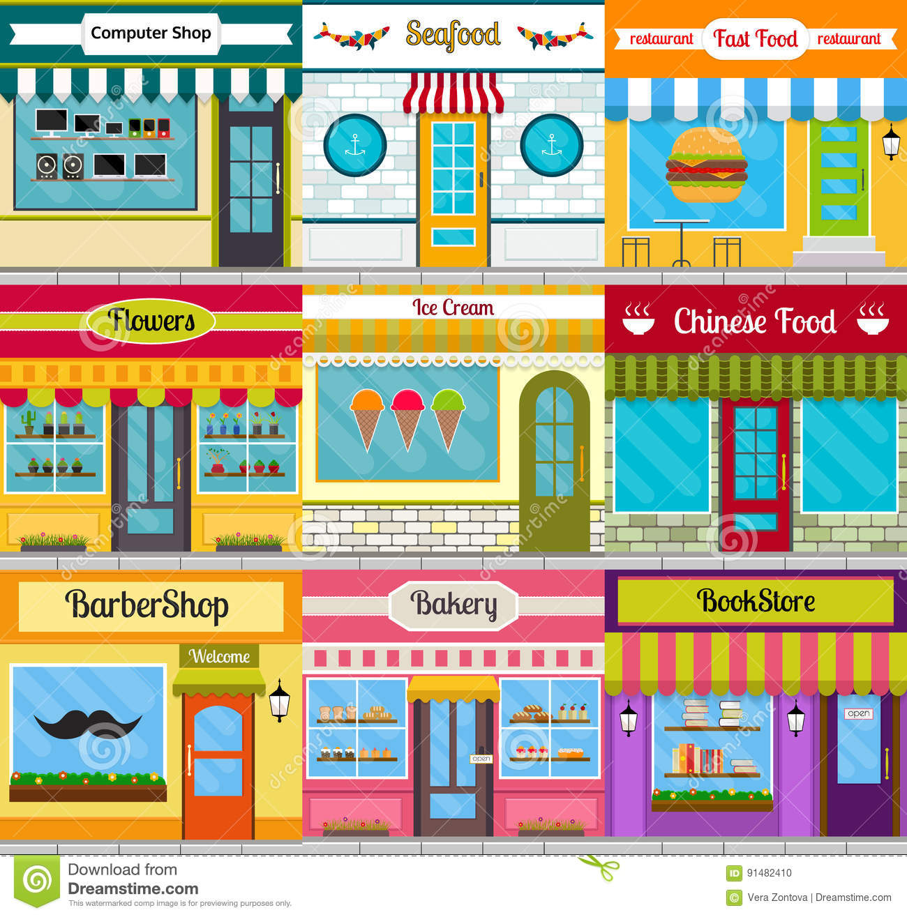 Shop Facades And Restaurant Fronts Set Stock Vector Illustration Of Building Exterior 91482410