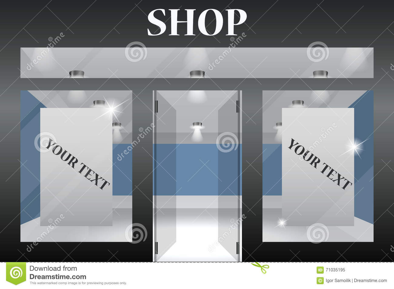 Shop exterior front stock image 71842273 for Shops exterior design