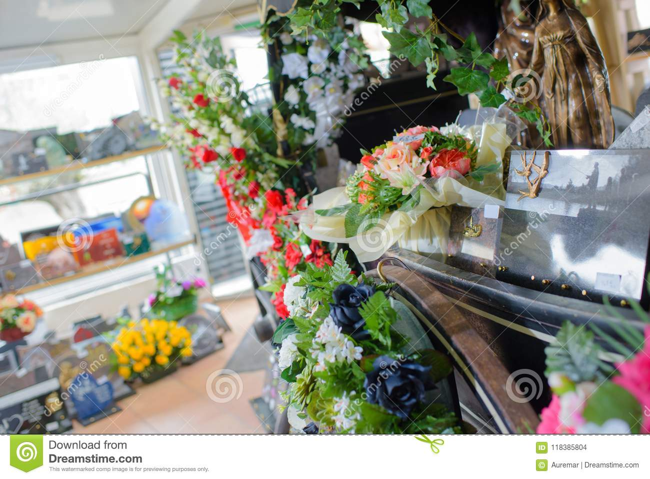 Shop with funeral flowers stock photo image of chrysanthemum shop with funeral flowers izmirmasajfo