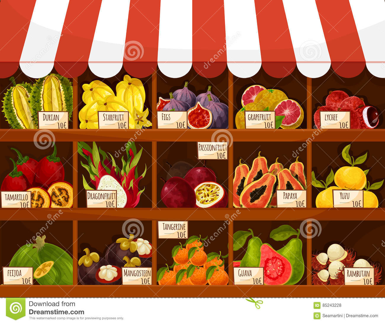 Shop or market vector stand display exotic fruits