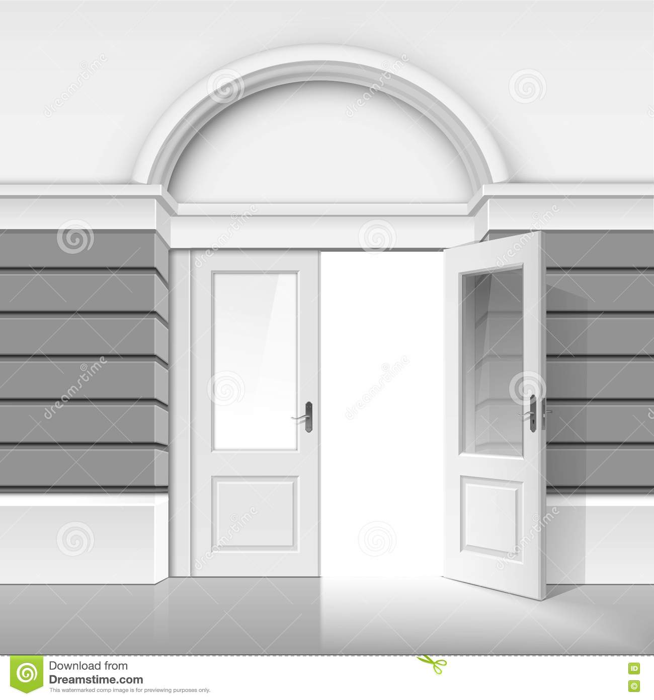 open front door illustration. Simple Door Shop Museum Boutique Building With Open Glass Door Intended Front Illustration A