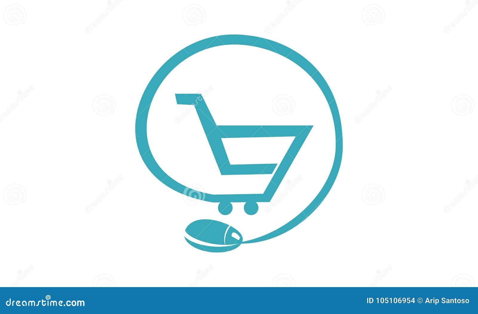 Shop Online Logo Design Template Stock Vector Illustration Of