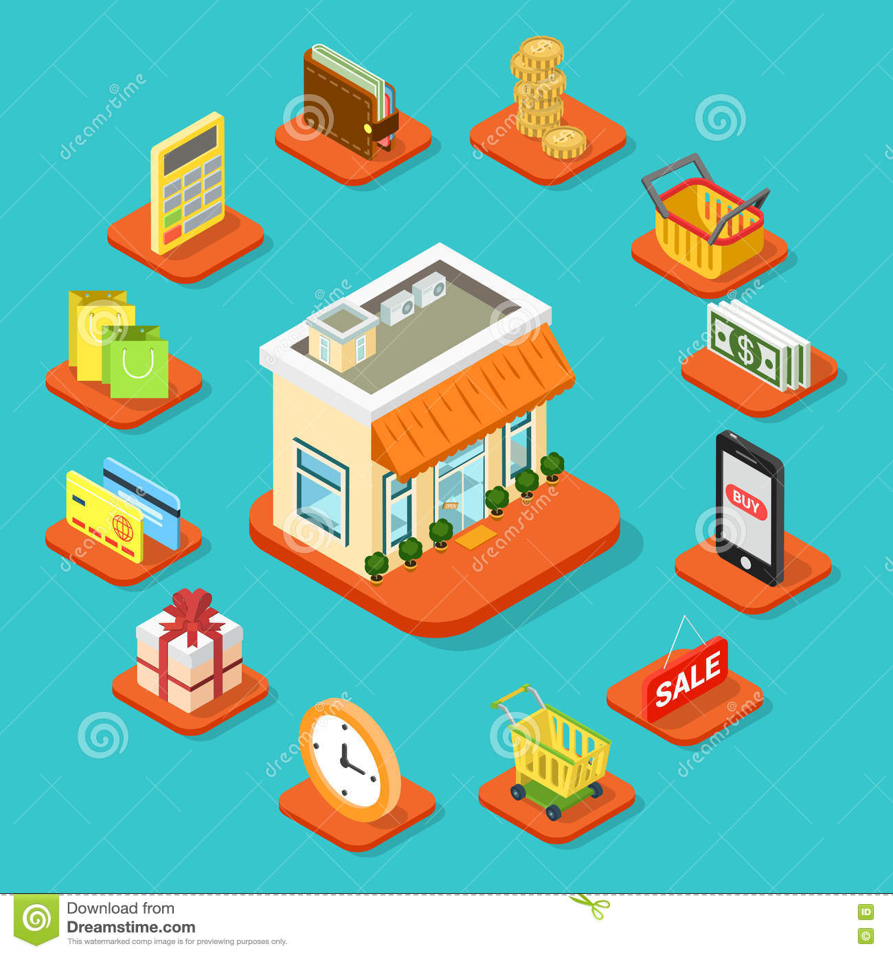 Shop store building shopping infographic icon flat 3d - Coin casa shop on line ...