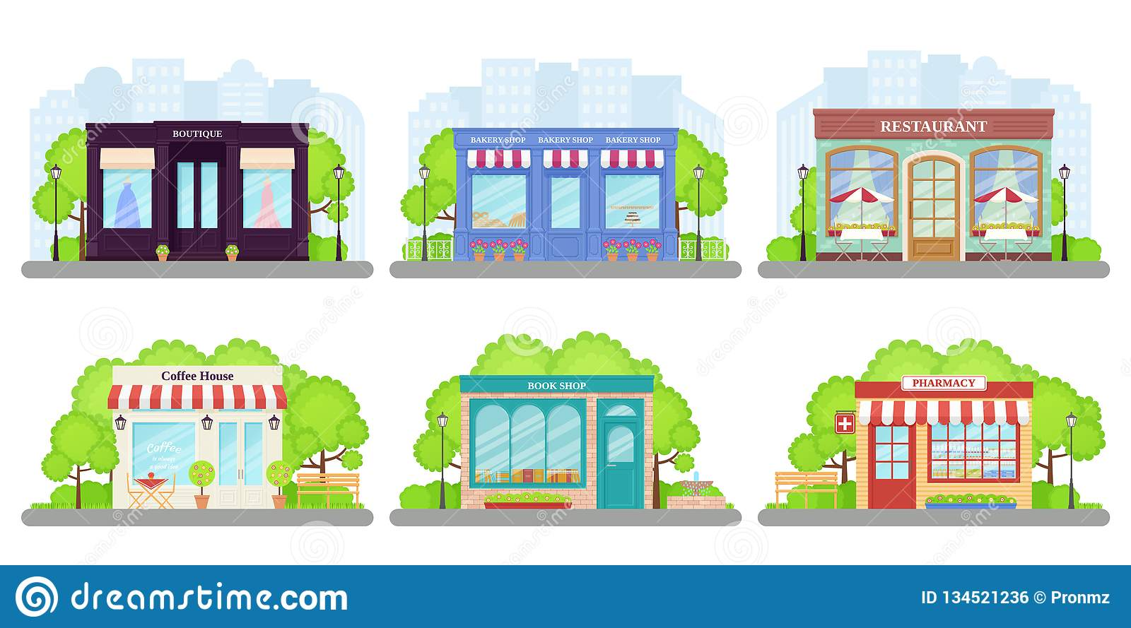 Shop Store Front Vector Illustration Storefront Facades Set Stock Vector Illustration Of Exterior Commercial 134521236