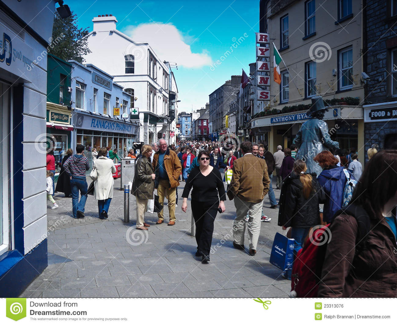 View of shop street a very busy pedestrian only street in galway