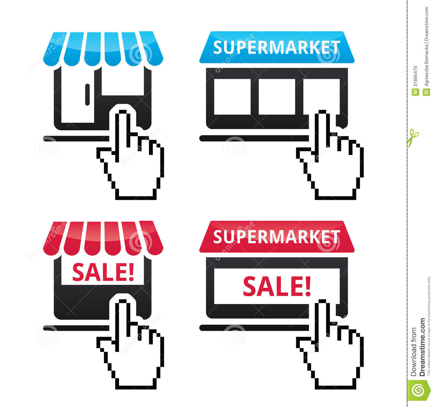 Shop supermarket sale icons with cursor hand icon for Online retailer for sale