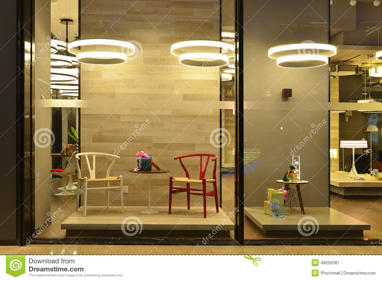 Shop window stock image image of desk exhibition for Show window designs
