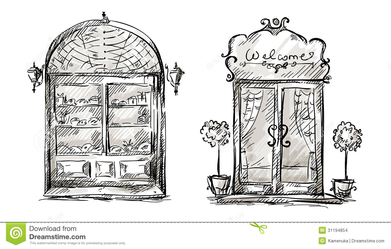 shop window and entrance door drawing  retro style stock vintage luggage clipart Pink Vintage Luggage