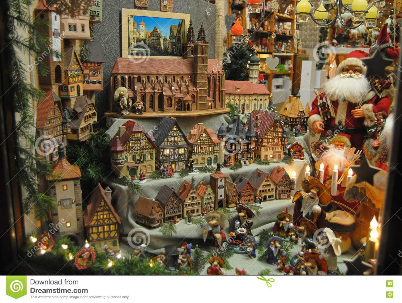 shop window in rothenburg ob der tauber during christmas. Black Bedroom Furniture Sets. Home Design Ideas