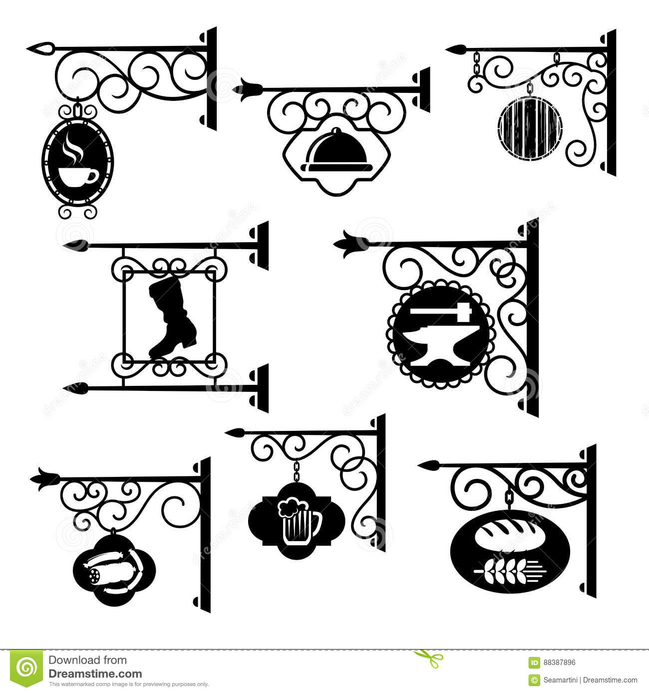 Shop and workshop metal forged signs vector icons stock vector royalty free vector download m4hsunfo Gallery