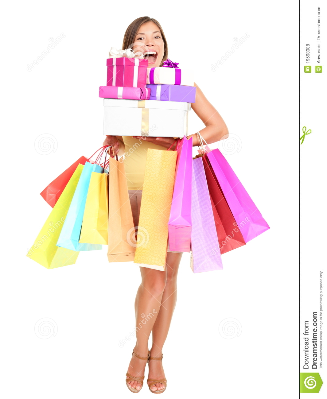 Shopper. Shopaholic shopping woman holding many shopping bags excited ...