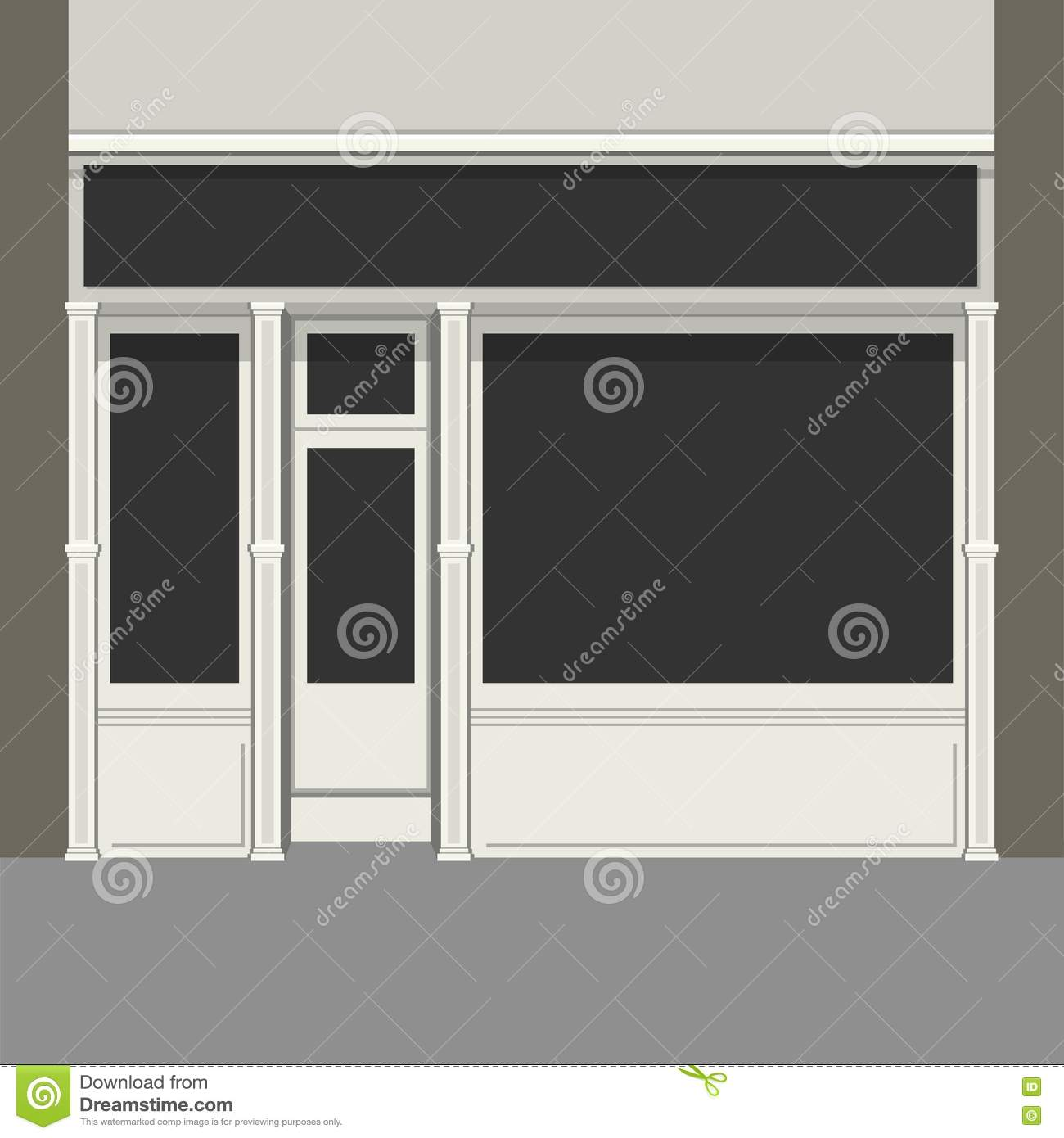 Exhibition Stall Design Vector Free Download : Shopfront with black windows light store facade vector
