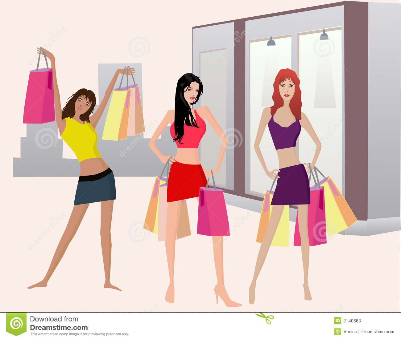 Shoping Girls - Illust...