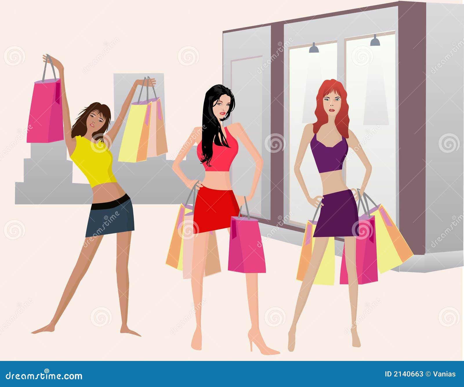 Shoping Girls Illustt Stock Photos Image 2140663