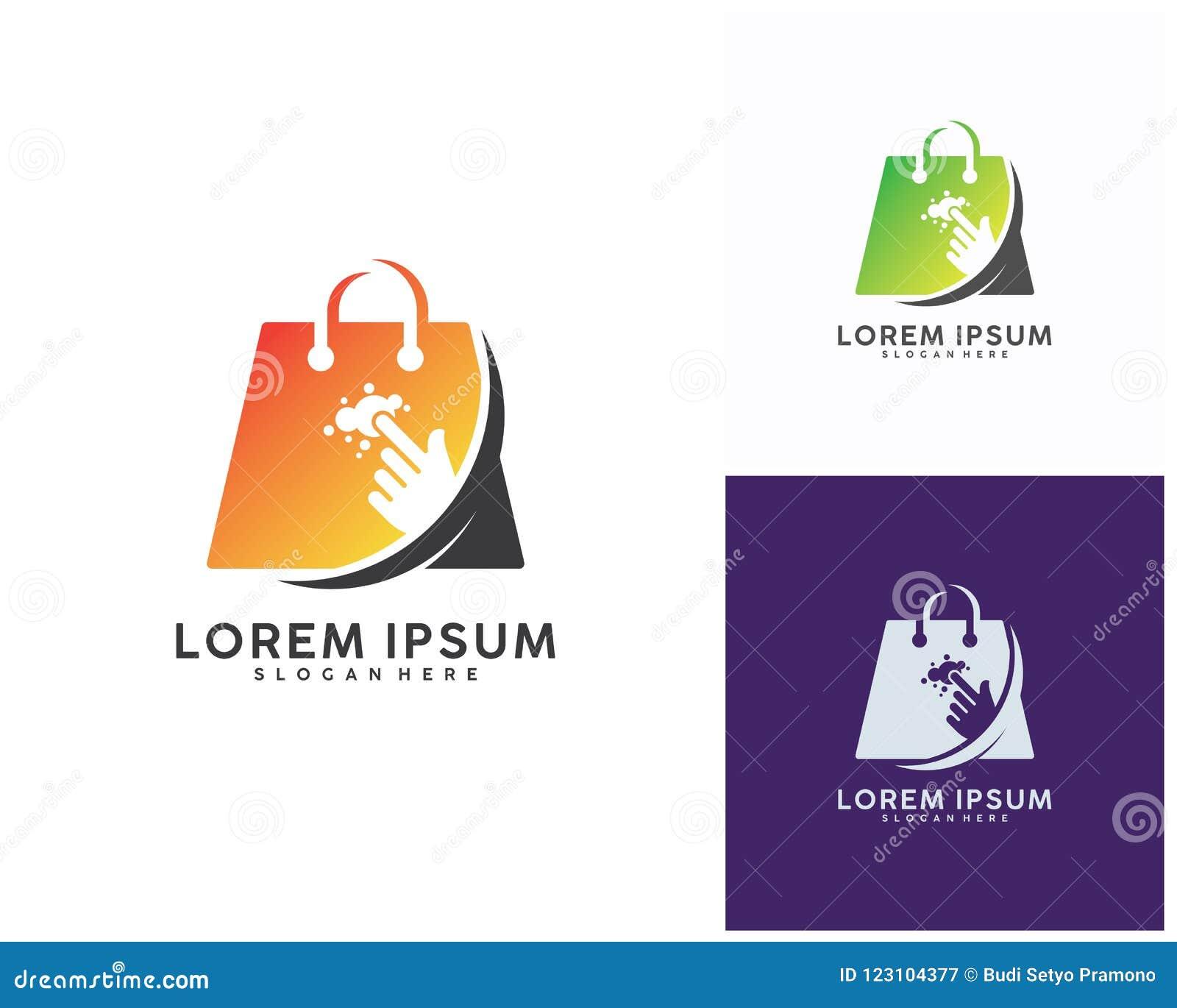 Shoppa direktanslutet logodesigner mallen, vektorillustration