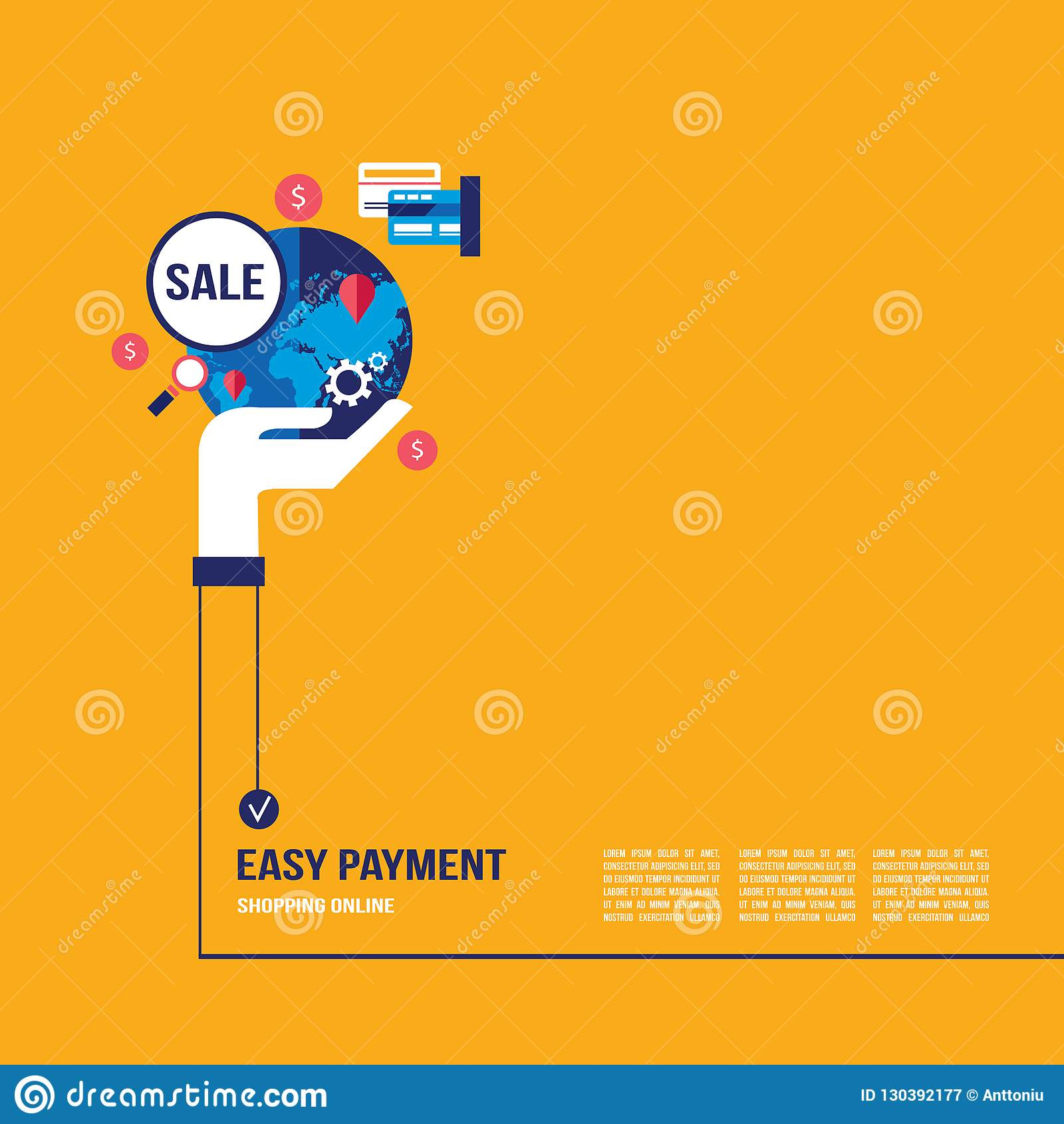 Shoppa direktanslutet och E-kommers begrepp