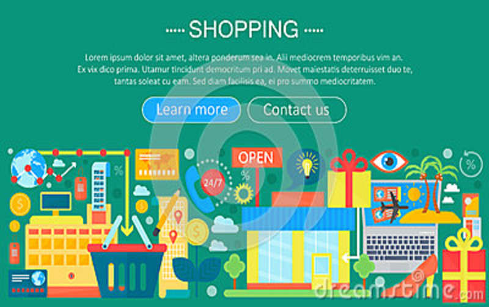 Shoppa direktanslutet och E-kommers shoppingbegrepp Online-design för mall för e-kommersinfographics, rengöringsduktitelradshoppi