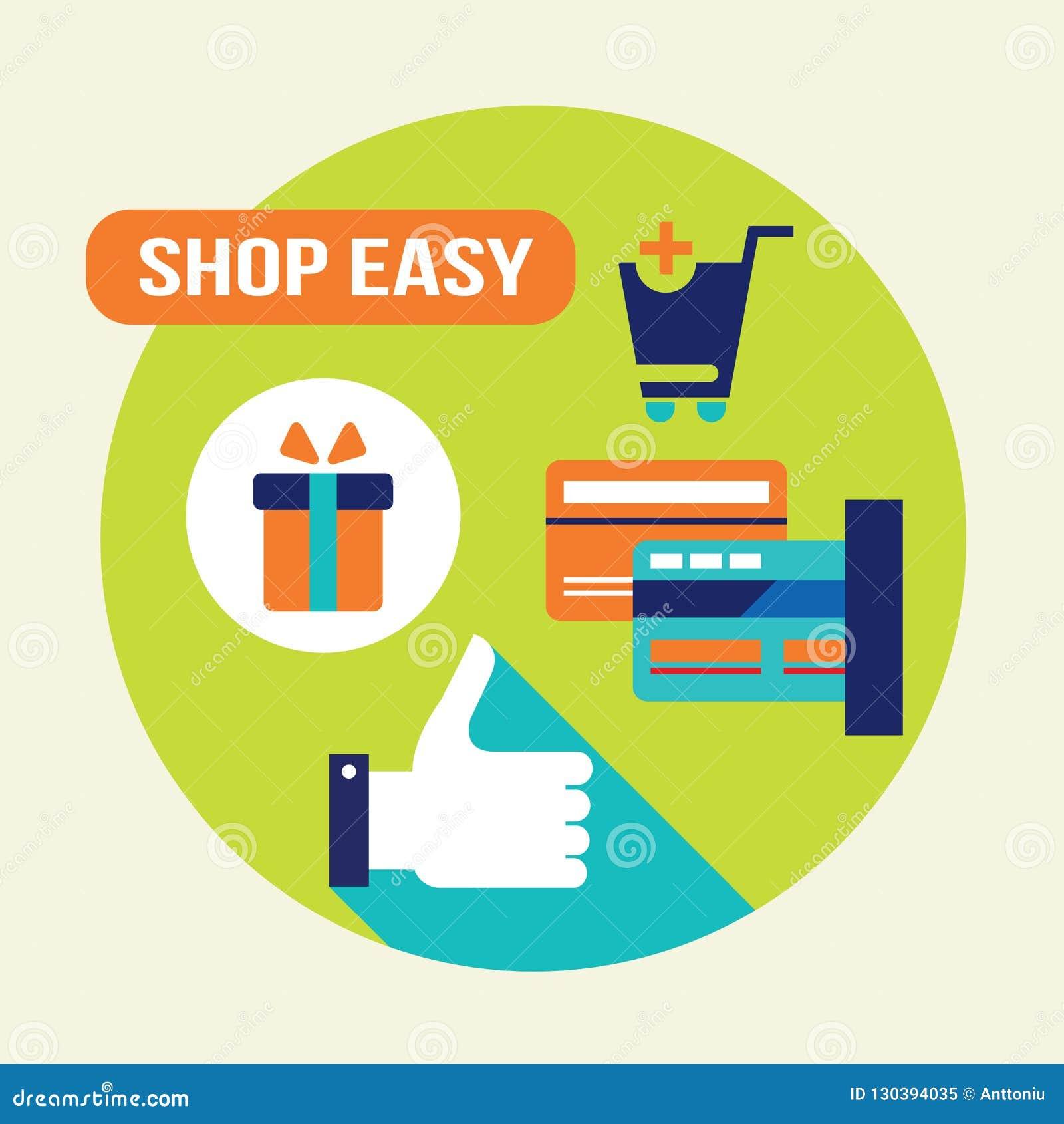 Shoppa lätt E - kommers, online-shopping och kontokortbetalningbegrepp