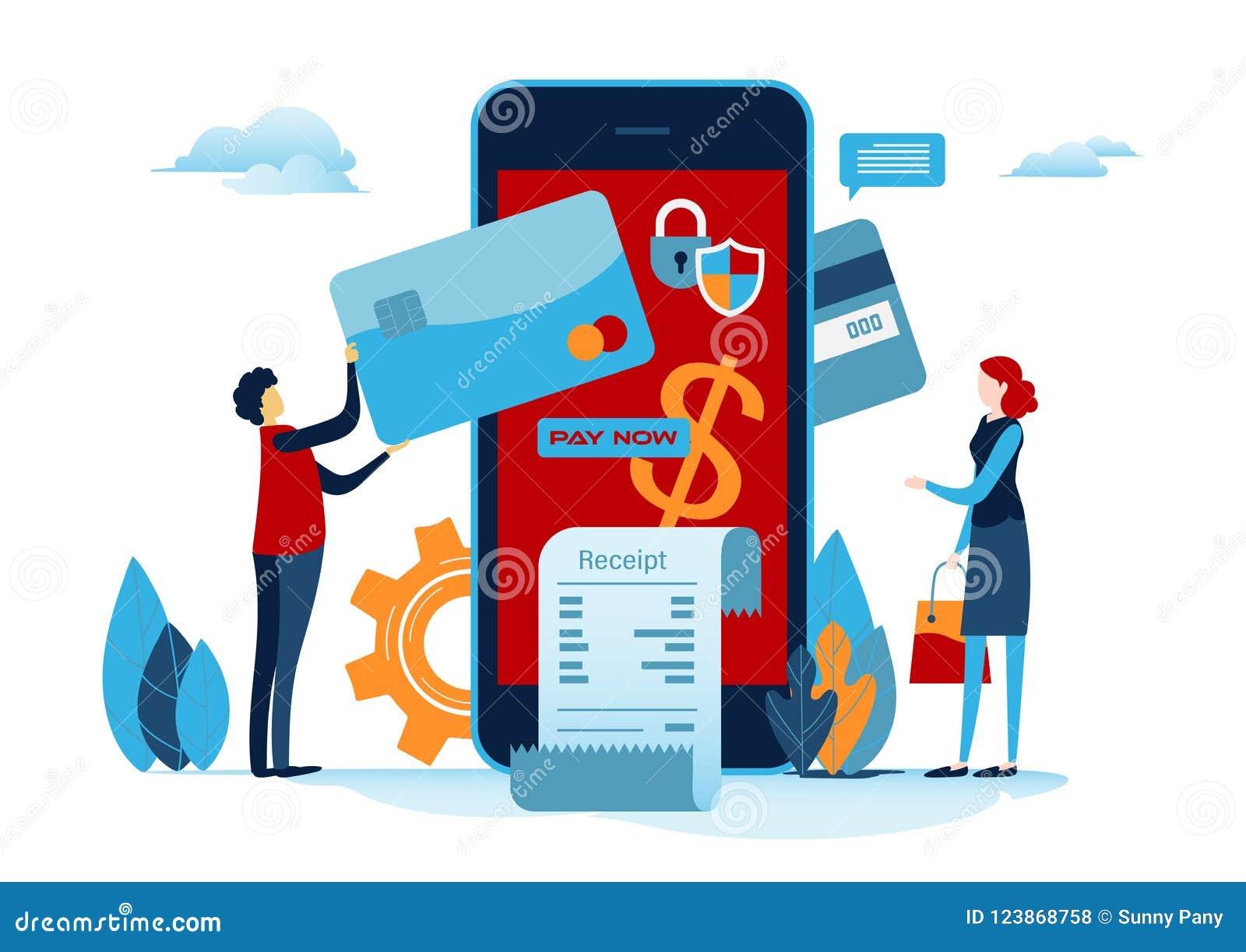 Shoppa online Digital betalning med smartphonen Betalt av kreditkorten Shoppa på mobil Plan tecknad filmminiatyr