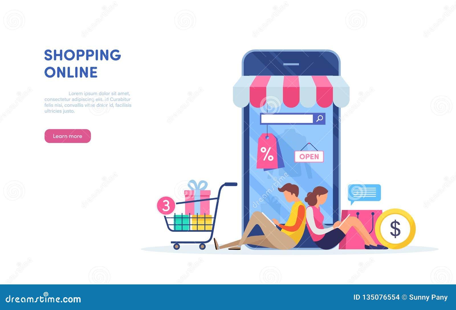 Shoppa på mobil Bärbar dator med markisen Guld- text på mörk bakgrund Online-betalning Miniatyrillustrationvektor för plan teckna