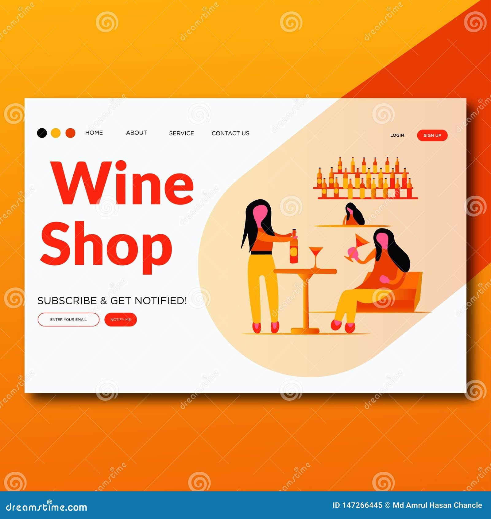 Shoppar modernt plant vin för vinshopen- sidan för illustrationvektorlandning
