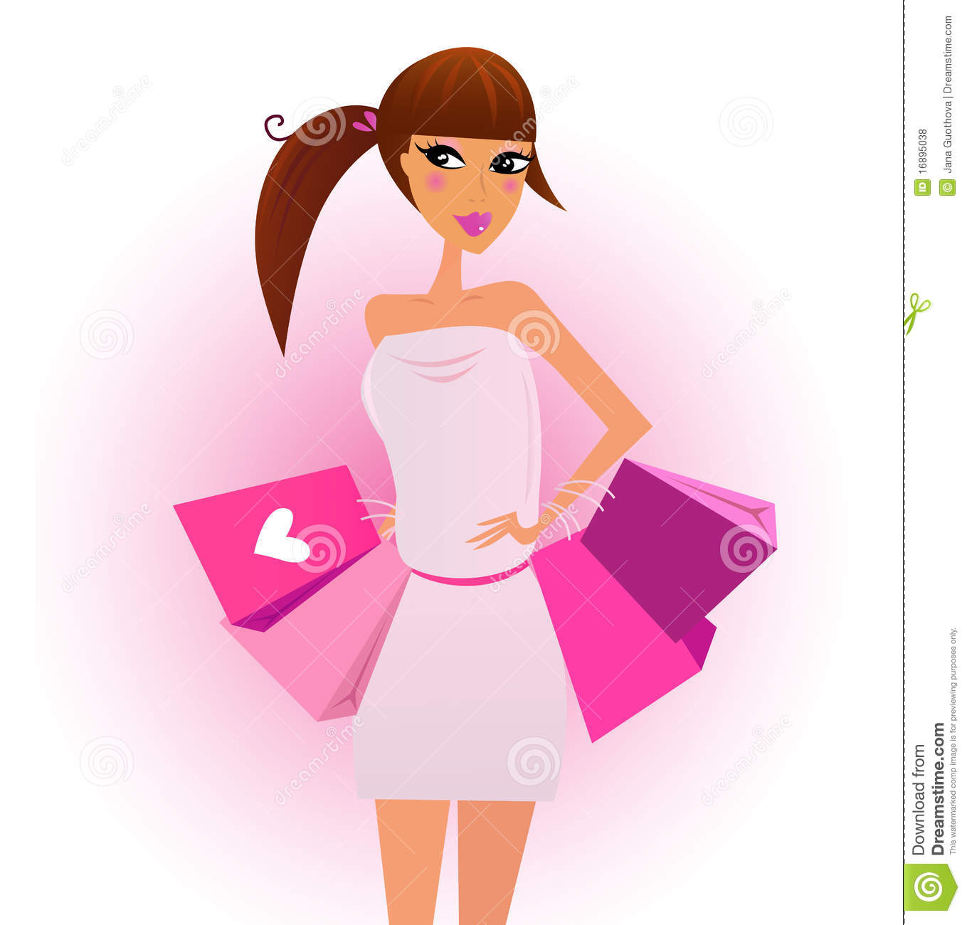 Shopper - Shopping Girl With Pink Shopping Bags Stock ...