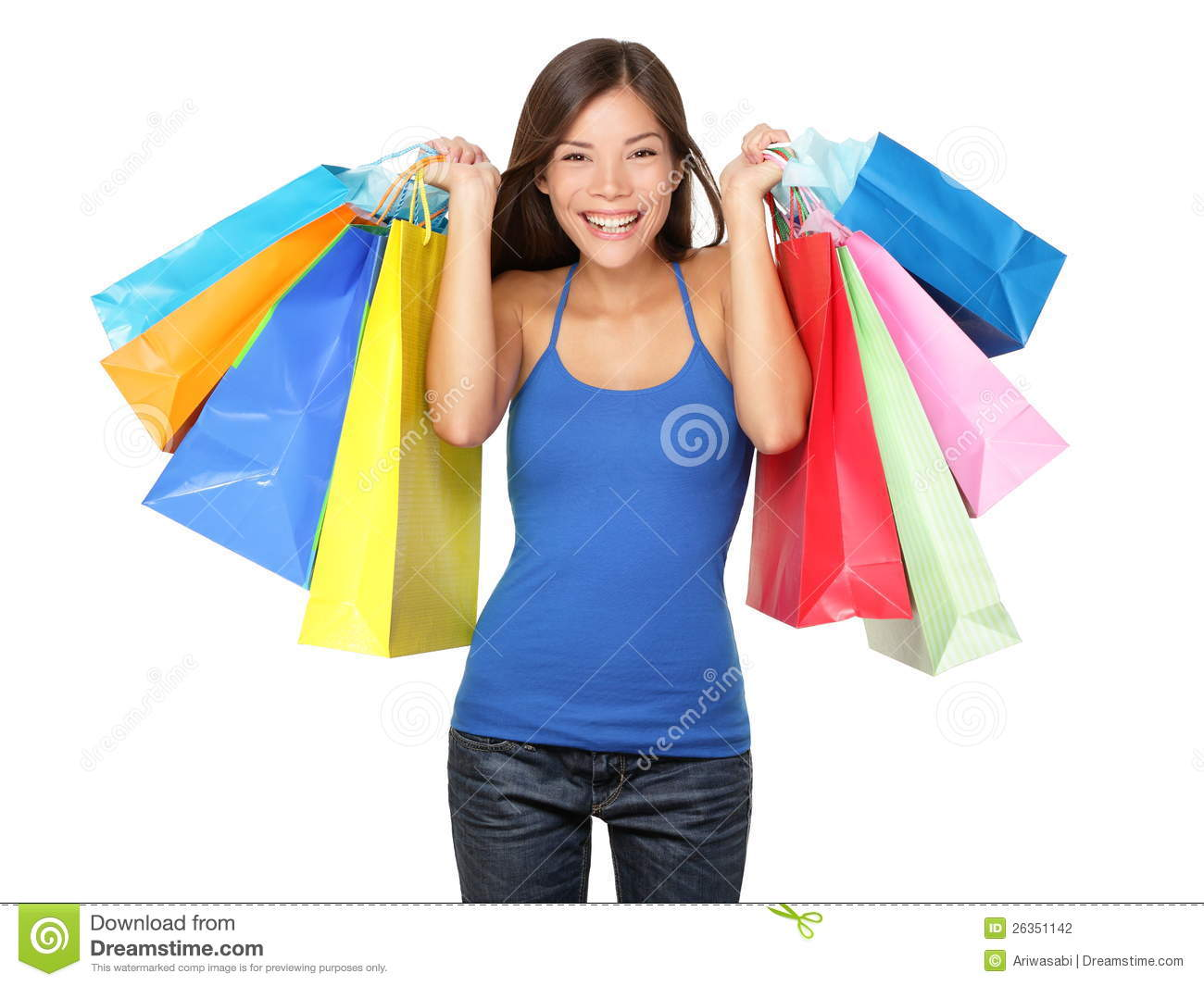 Shopper Woman Holding Shopping Bags Stock Photography - Image ...