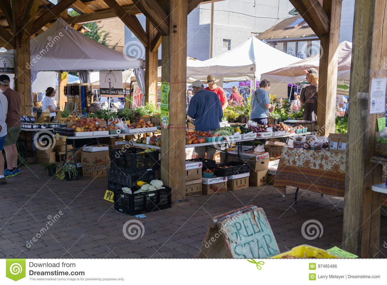Shoppers at a Local Farmers Market