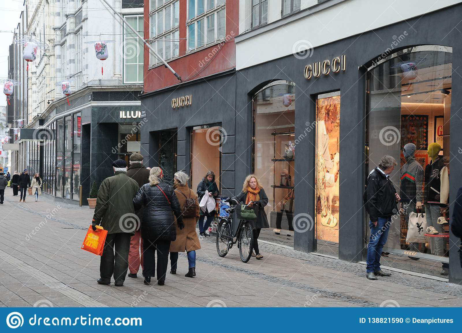fd51ab98730 Copenhagen Denmark. 8th.Febuary Shoppers pass by Gucci store on stroeget in  danish capital Copenhagen Denmark. Photo..Francis Joseph Dean   Deanpictures