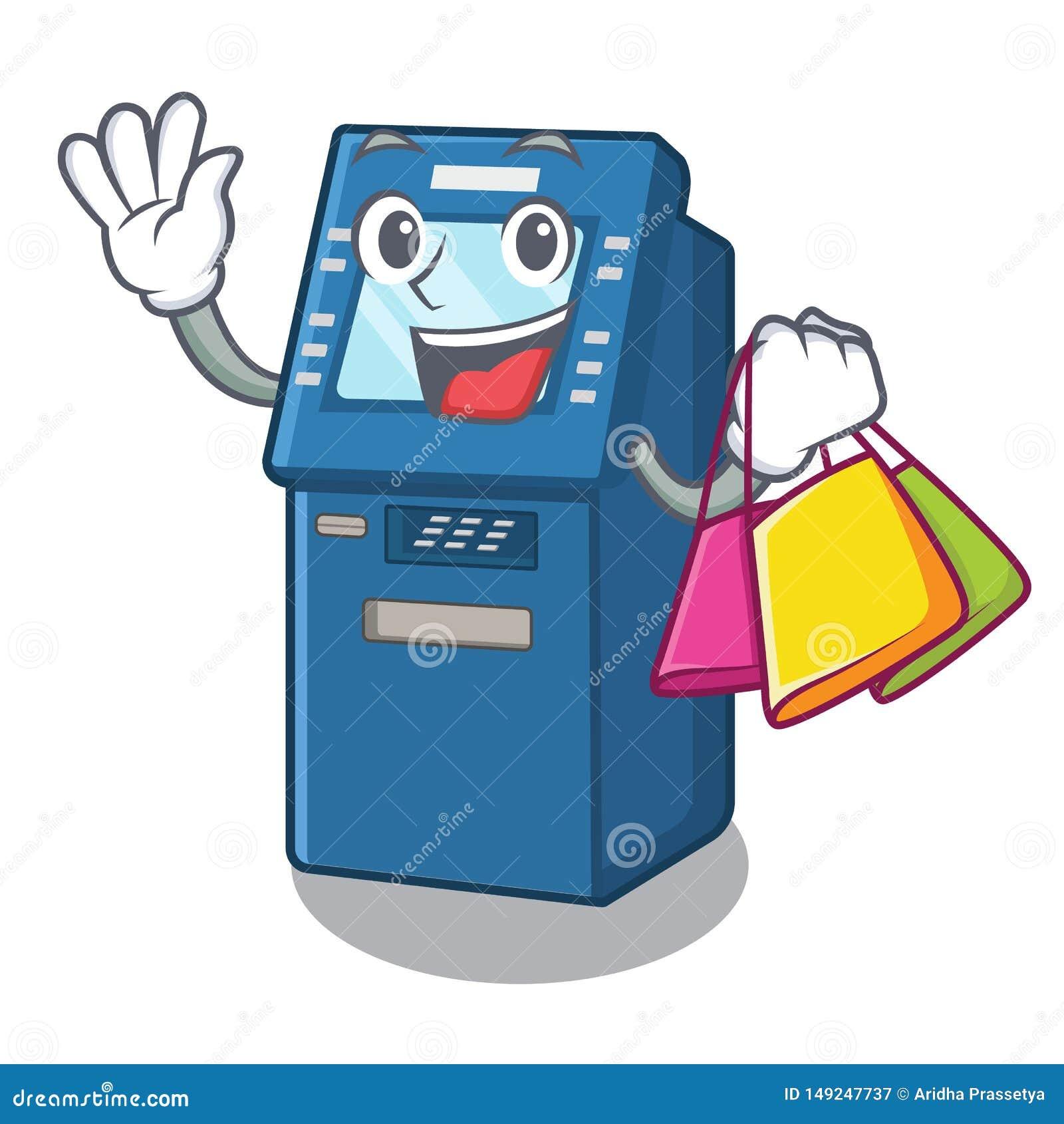 Shopping ATM machine in the cartoon shape