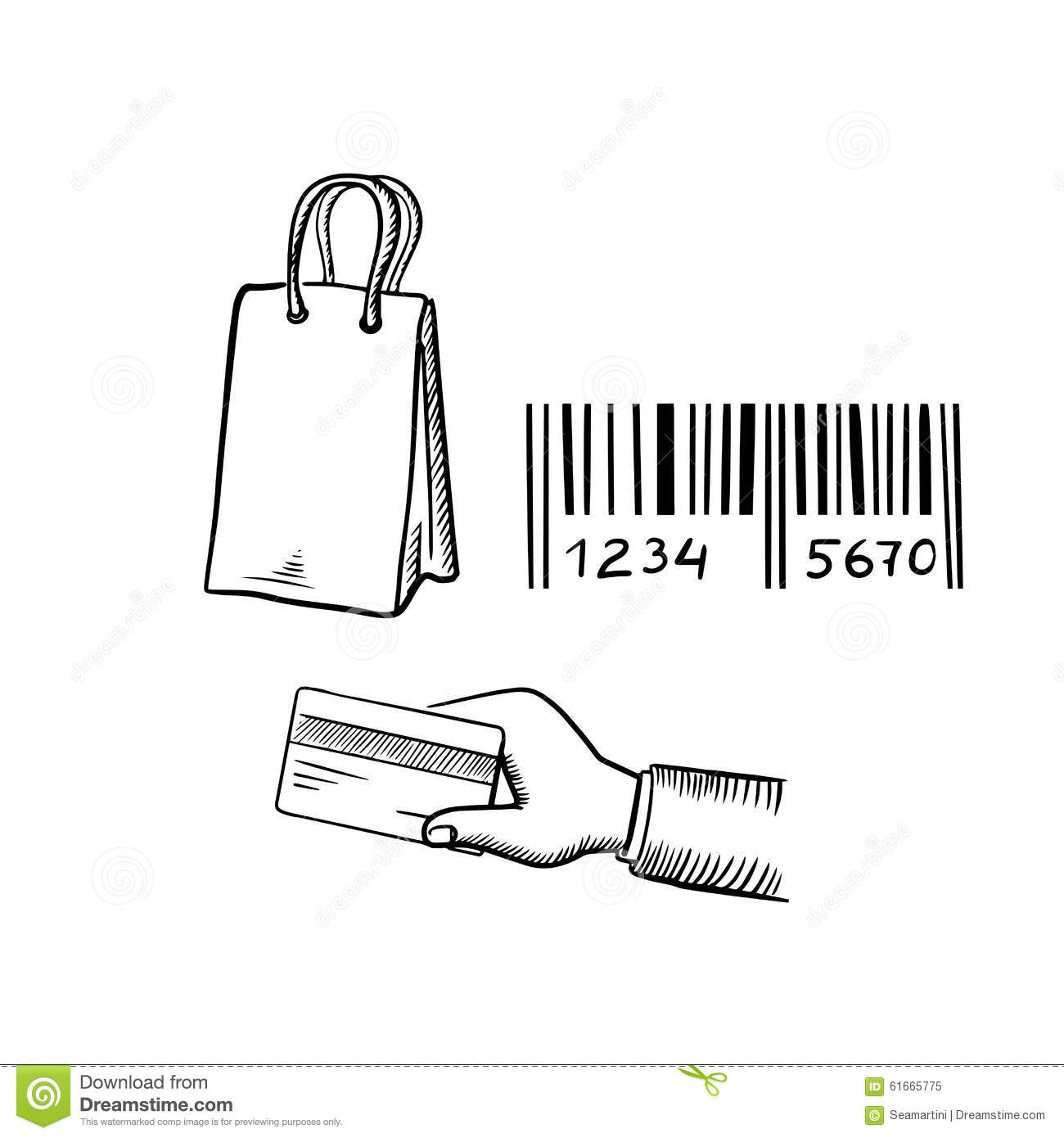 shopping bag  credit card and barcode sketches stock vector