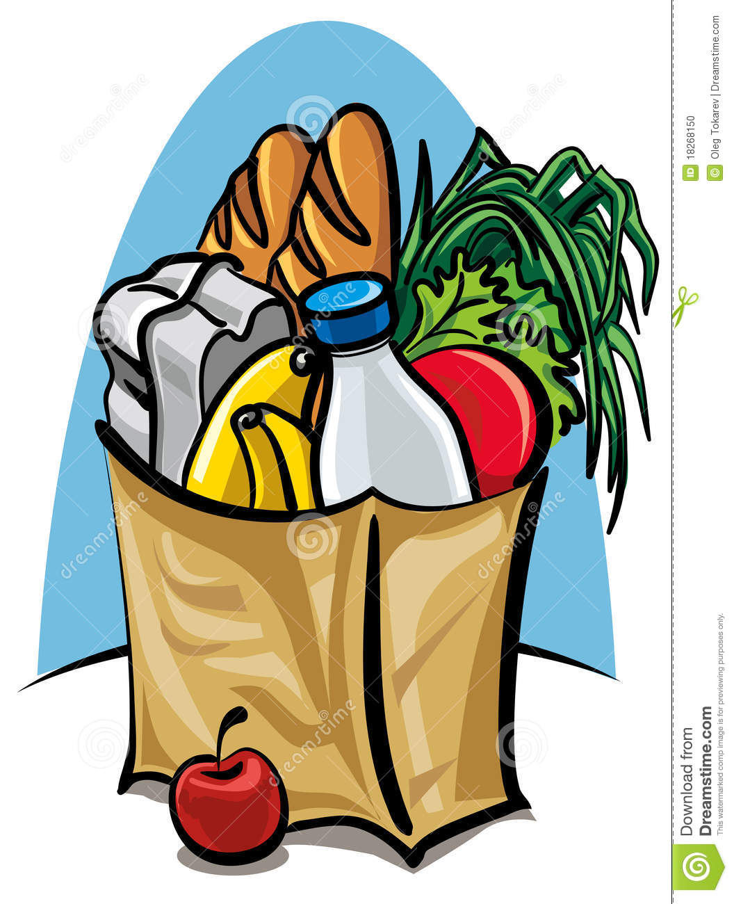 Grocery Shopping Clipart Shopping bag with food