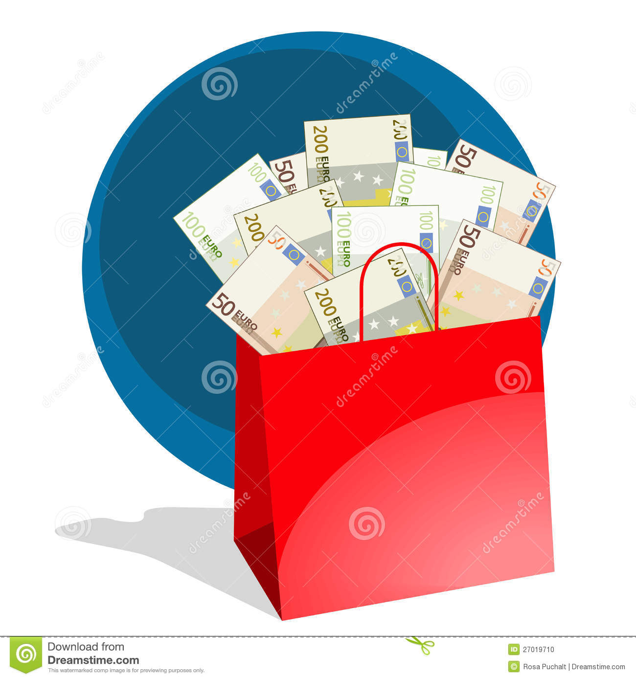 Shopping Bag Full Of Money Stock Photo - Image: 27019710