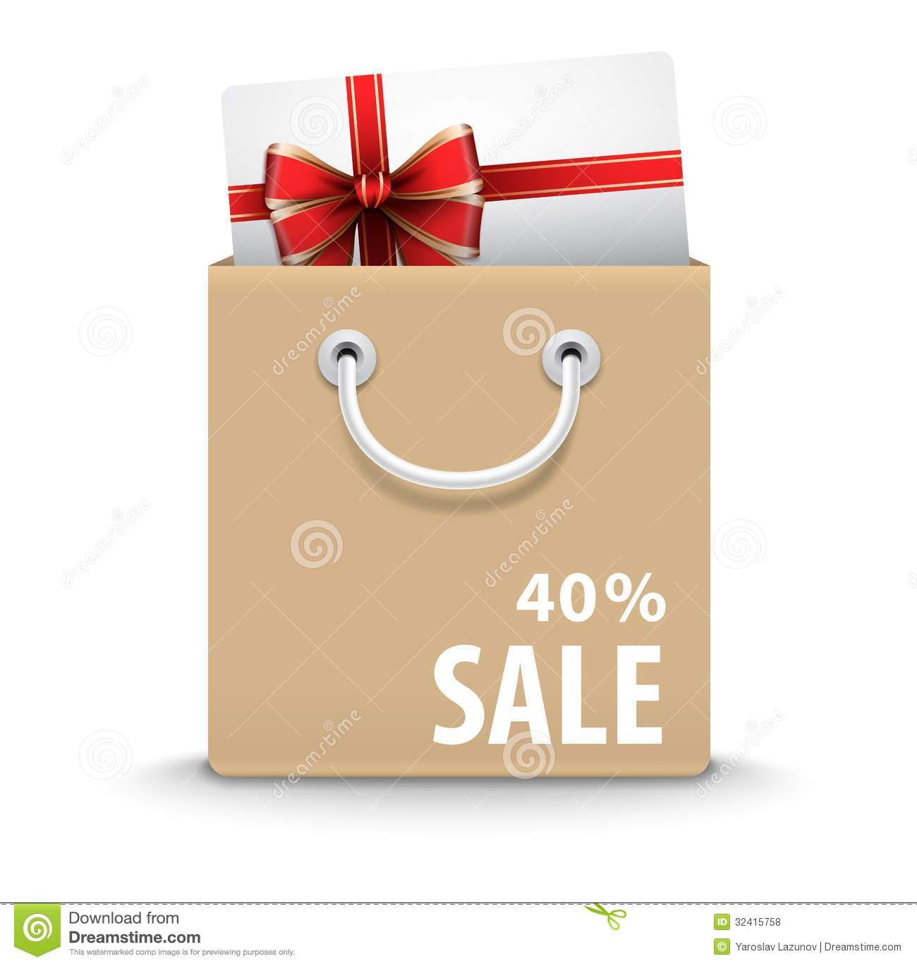 Shopping Bag With Gift Card And Discount Text Royalty Free Stock ...