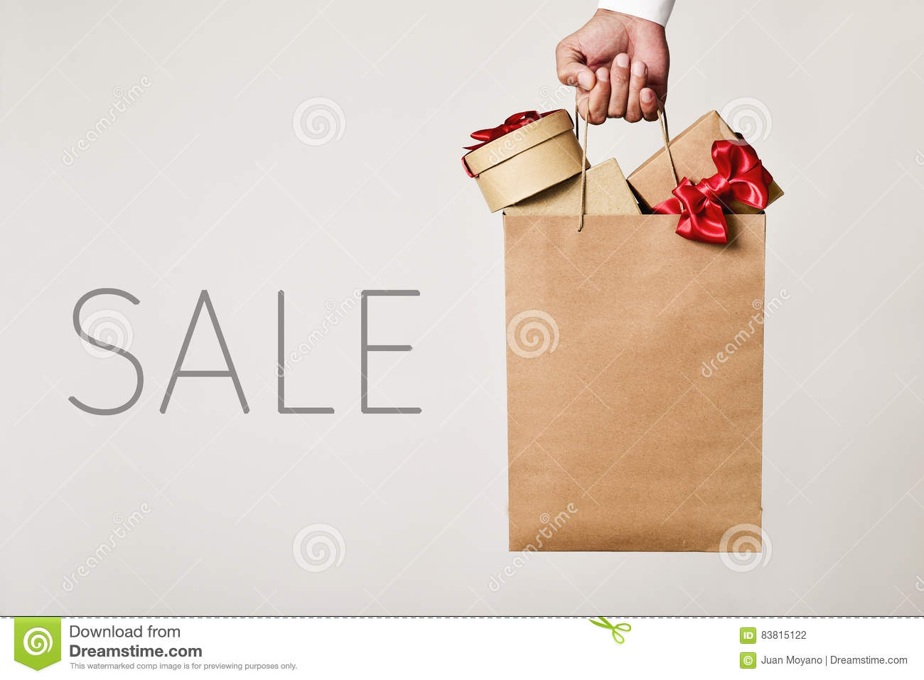 shopping bag with gifts and word sale stock photo image of