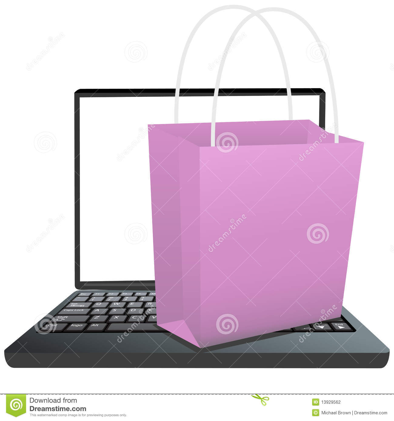 Shopping Bag On Keyboard Of Laptop To Shop Online Stock ...