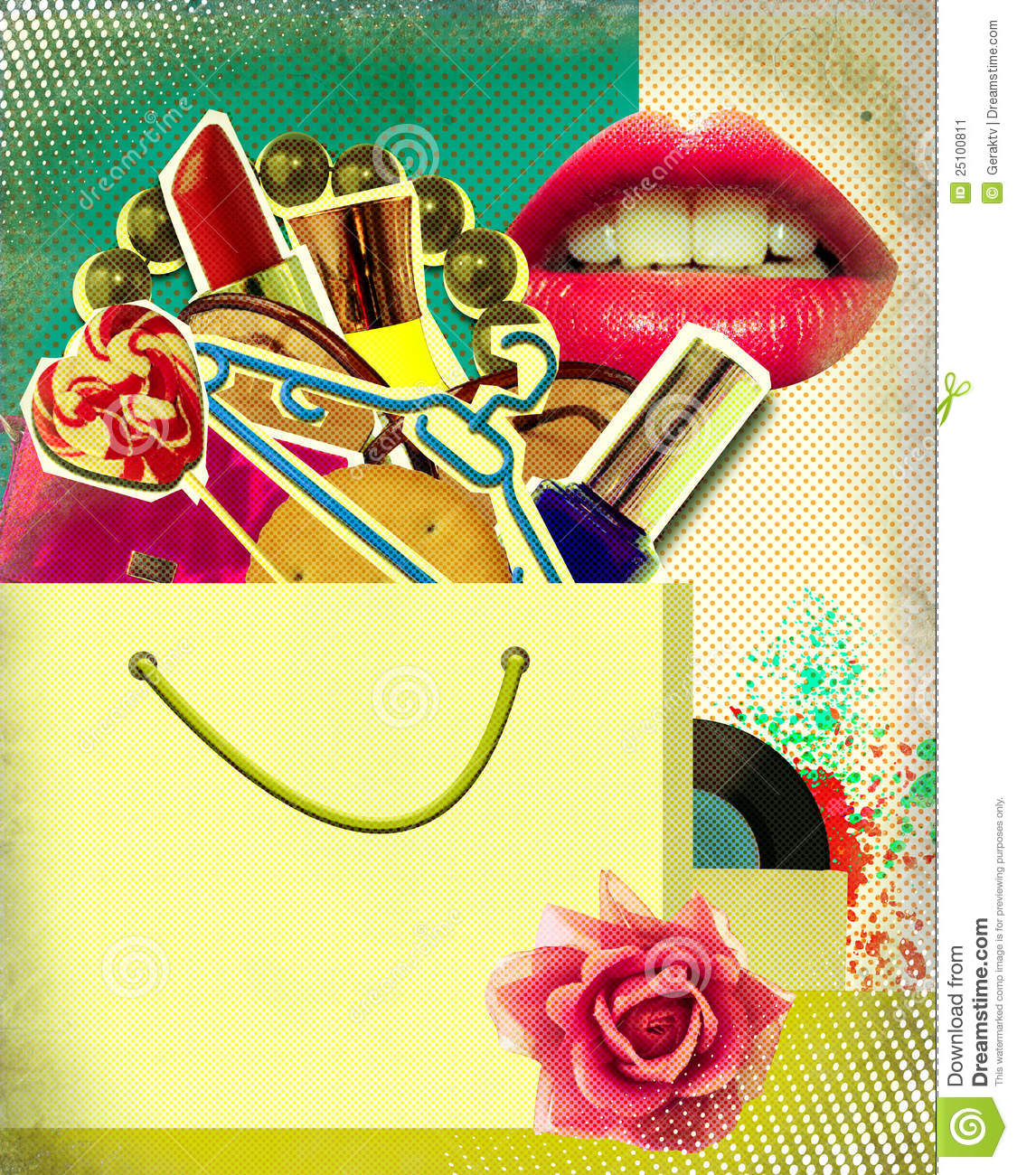 shopping bag on retro poster pop art stock illustration image 25100811. Black Bedroom Furniture Sets. Home Design Ideas