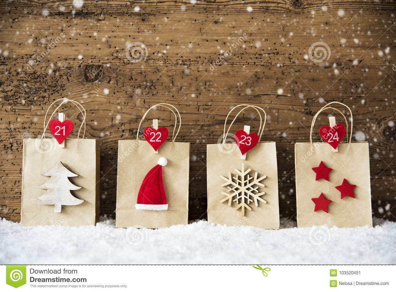 Shopping bags with christmas decoration snowflakes santa hat
