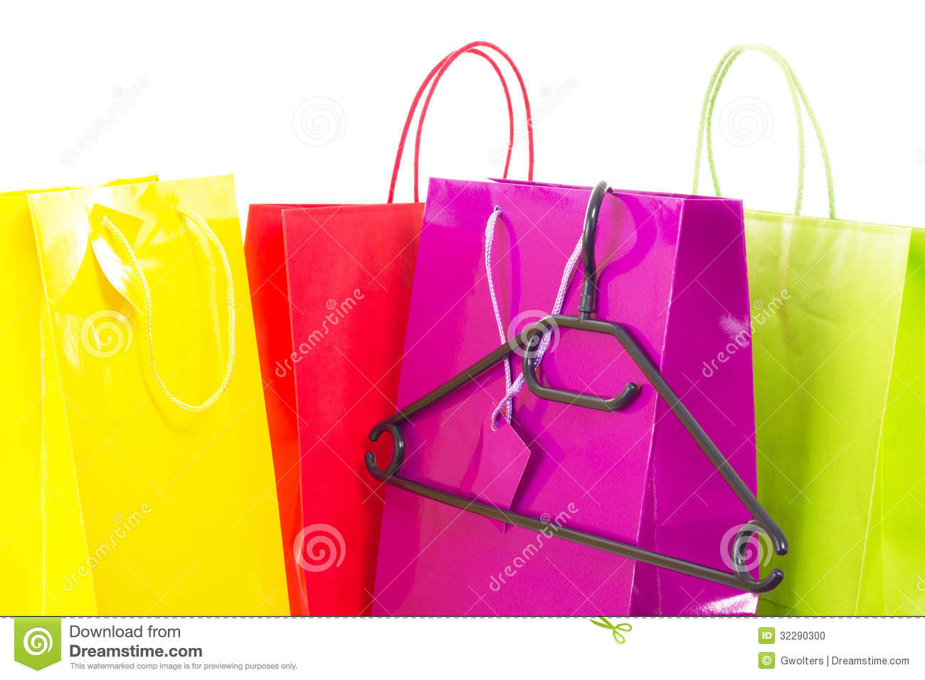 Shopping Bags With Clothes Hanger Stock Photo - Image: 32290300