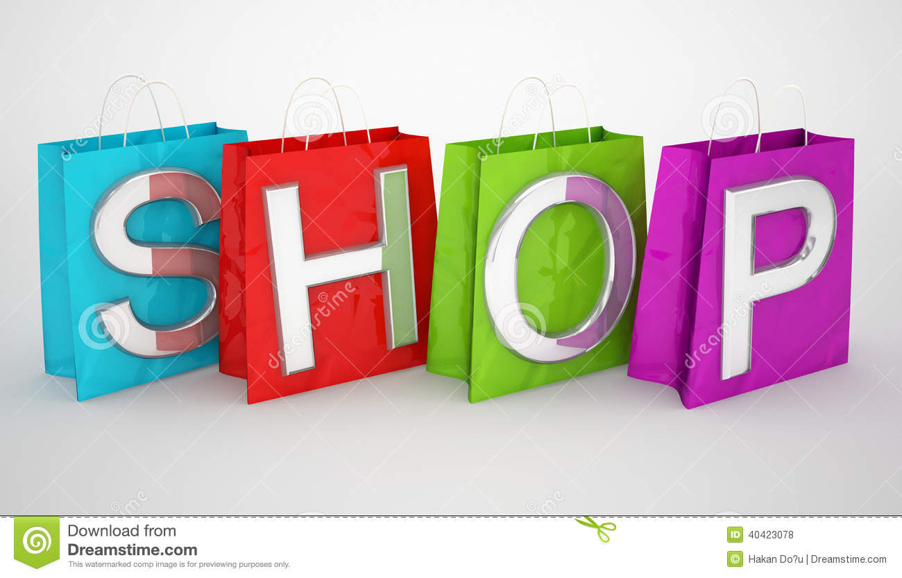 Shopping Bags And Shop Word Stock Illustration - Image: 40423078