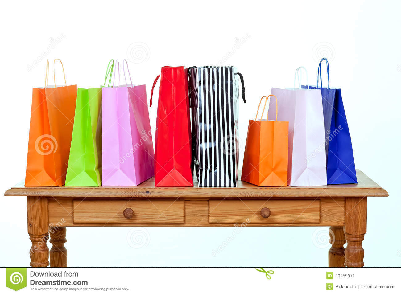 Colorful shopping bags on table stock image image 30259971 for Table shopping