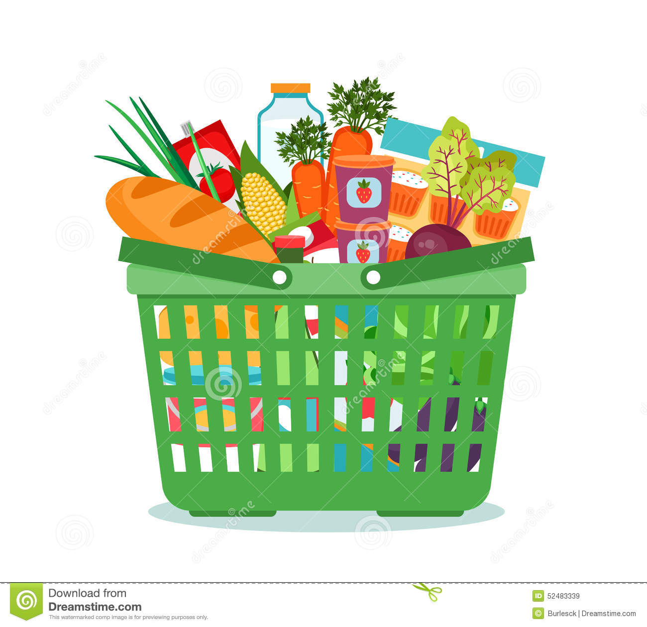 shopping basket with food vector illustration stock vector Cartoon Fruits and Vegetables Apple Clip Art
