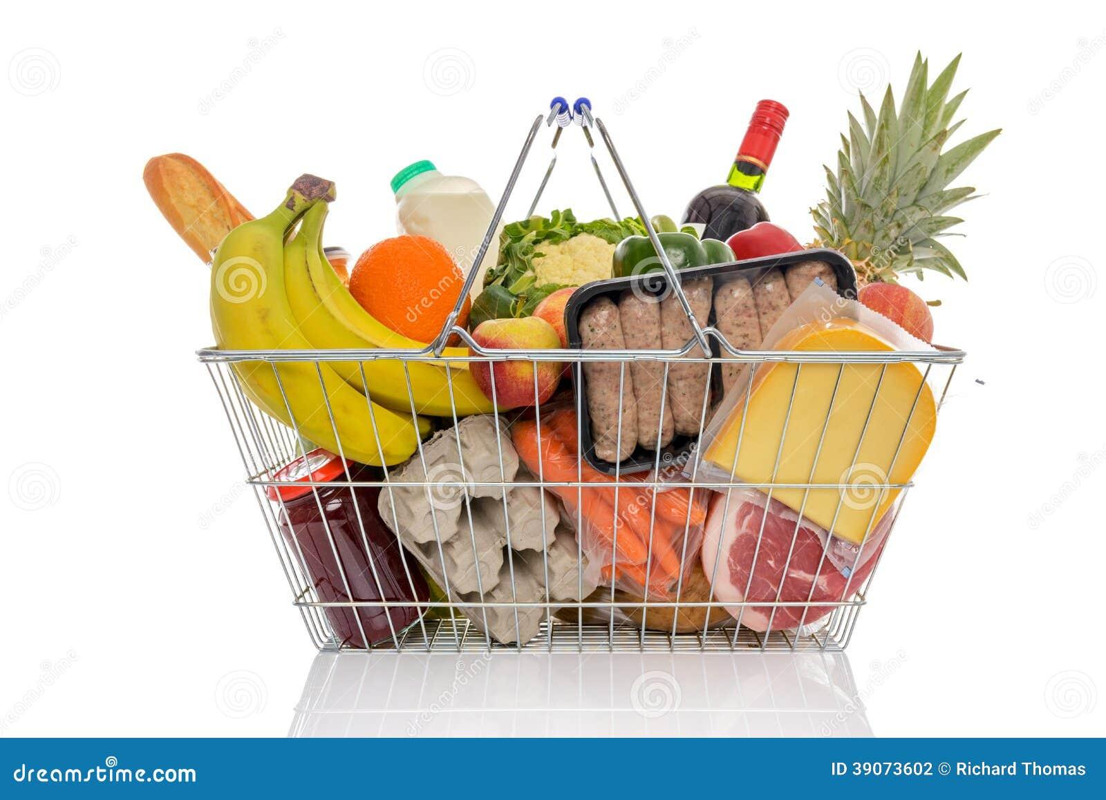 Full Grocery Cart Clipart Shopping Basket Full O...