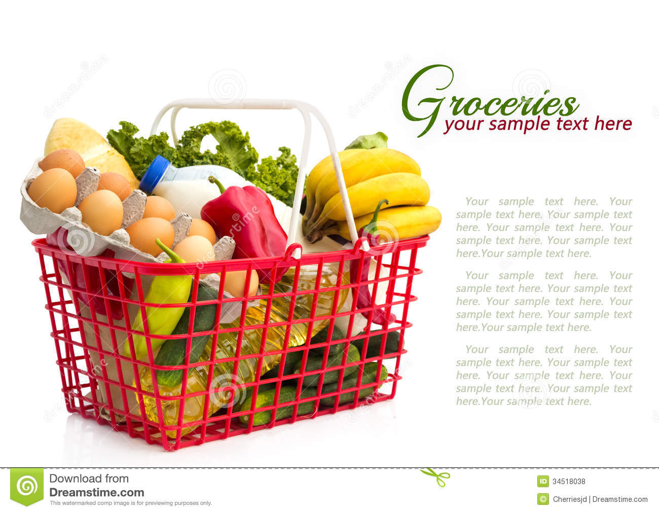 Shopping Basket With Groceries Stock Photo - Image of milk ...