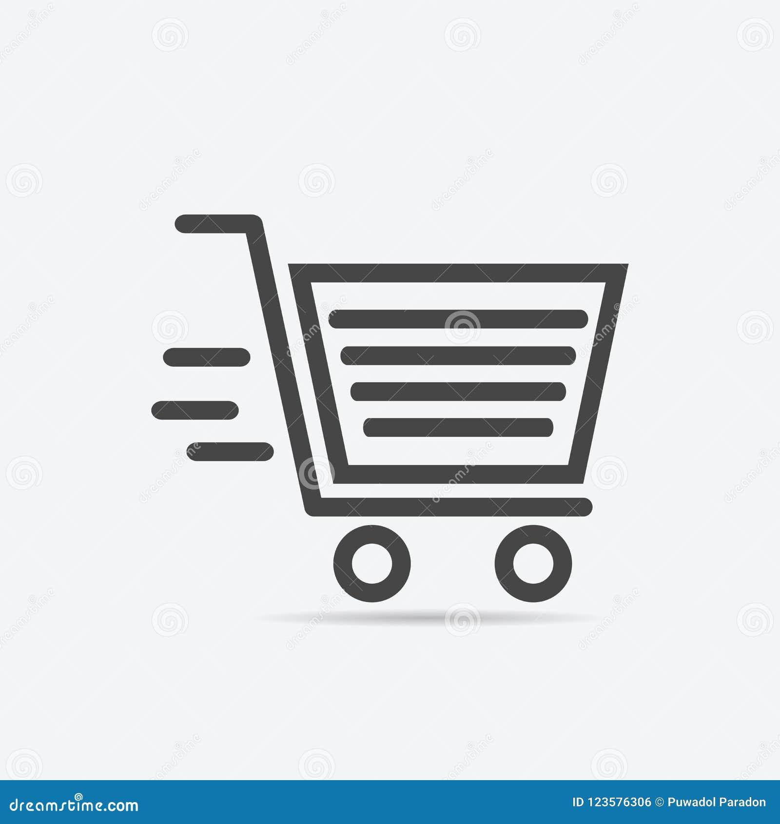 Shopping Basket Icon Flat Style Isolated On Background  Shopping