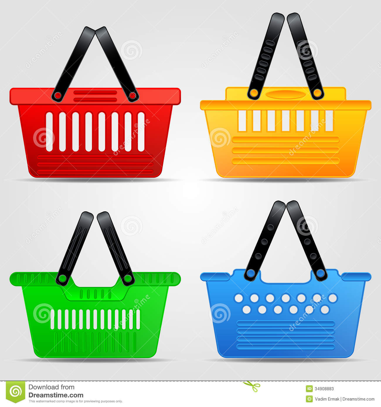 Vector Clipart Shopping Basket : Ping basket vector set stock photos image