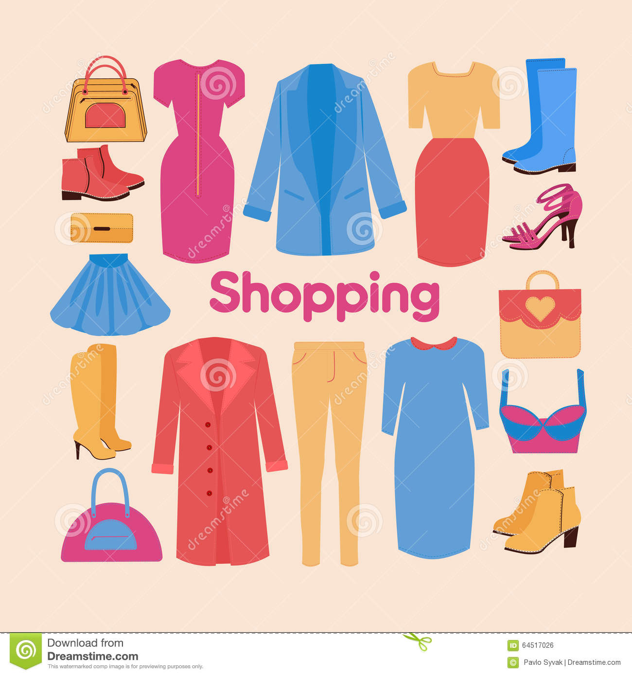 Shopping And Beauty Set In Flat Design Stock Vector Image 64517026